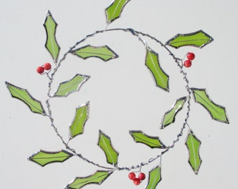 Holly Wreath Upcycled Stained Glass and Wire Suncatcher and Christmas Decor
