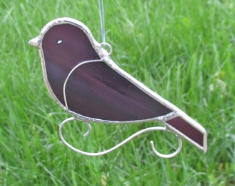 Dark Purple  Stained Glass Bird Home Decor Suncatcher