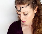 Moon Goddess Circlet in Silver and Black