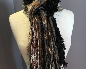 Handmade art yarn scarf,Fringe Scarf, Turtle colorblend, Neutral tone tan, black brown scarf, Handmade Scarves, women gifts, boho, Xlong