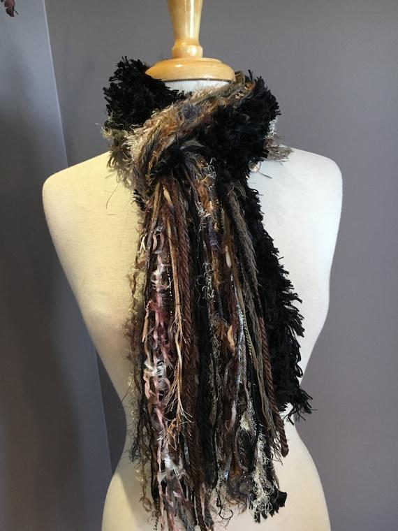 Handmade art yarn scarf,Fringe Scarf, Turtle colorblend, Neutral tone tan, black brown scarf, Handmade Scarves, women gifts, boho, Xlong