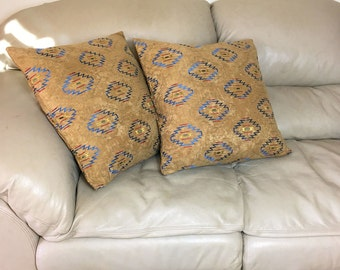 Geometric Southwest Throw Pillow Cover, Tan Faux Suede Decorator Pillow, 16 inch OR 20 inch Pillows, B3