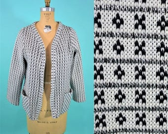 SWEATER SALE / 1980s cardigan | black and white open knit sweater | xoxo novelty cardigan L