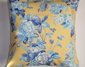Throw Pillow Cover, Handmade French Country Floral Throw Pillow Cover, Romantic Blue & Yellow Floral Pillow Cover, Waverly Fabric - 16x16""