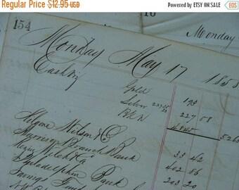 ON SALE Antique Beautiful Hand written 1850s Ledger lot