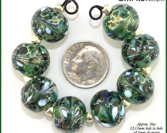 Lampwork Bead Set, 6 Silvered Green and White Glass Round lampwork beads, Made to Order, silver foil glass beads, Bims Bangles