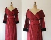 vintage cocktail dress / fur cuffs dress / Victor Costa dress