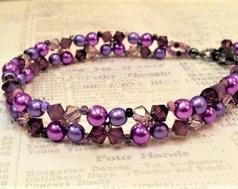 Purple Right Angle Weave Crystal Bracelet, February Birthstone, Amethyst Swarovski Crystal, Woven Seed Bead Bracelet, Purple, Lilac, Violet