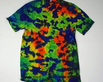 Cosmic Starfield Scrunch ~ Tie Dye T-Shirt (Bella Canvas V-neck Size XL) (One of a Kind)