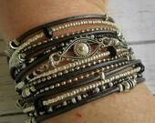 Multistrand Leather Wrap Bracelet - Protection Bracelet - Evil Eye Cuff - Multistrand Cuff Bracelet - Coachella - Choose Leather Color
