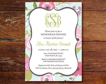 Bridal Shower invitation (custom), DIGITAL or PRINTED, Free shipping (US only)