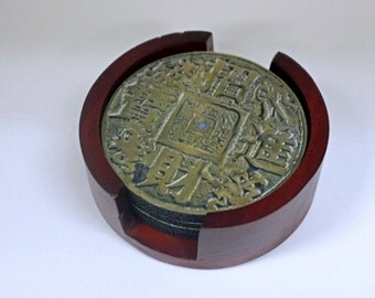 Chinese Fortune Coin Coaster Set of 5 with Wood Holder
