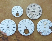 Vintage Antique porcelain pocket Watch Faces - Steampunk - Scrapbooking k13