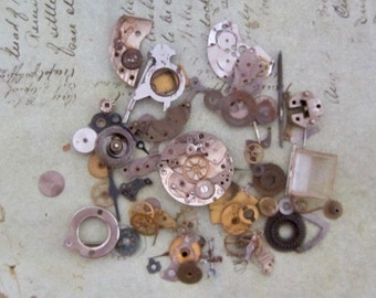 Vintage WATCH PARTS gears - Steampunk parts - L88 Listing is for all the watch parts seen in photos