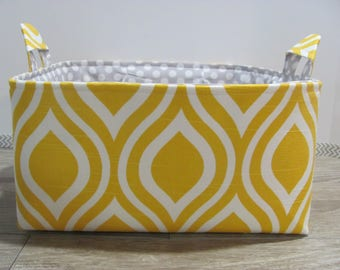 SALE Fabric Diaper Caddy - Storage Container Basket - Organizer Bin - Tote Bag - Bucket- Baby Gift - Nursery - Yellow pattern - RTS