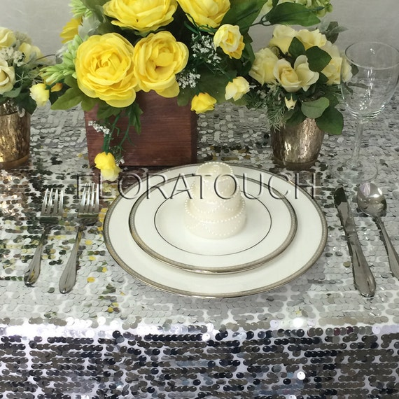 Silver Sparkling Sequins Wedding Table Overlay - other colors also available
