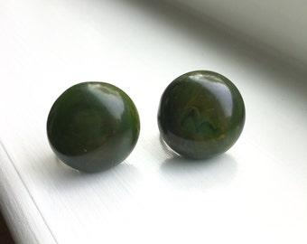 Vintage 1950's Dark Green Marble Bakelite Button Screwback Earrings Tested