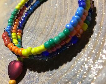 LoveIsLove Red Heart Bead Unisex Bracelet LGBTQ Pride Rainbow