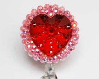 Big Red Heart ID Badge Reel - Retractable ID Badge Holder - Zipperedheart -