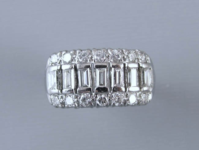 Vintage Art Deco Retro Moderne platinum 1.12 ct diamond baguette wide band ring, size 6-3/4 / wedding ring / anniversary ring / wedding band
