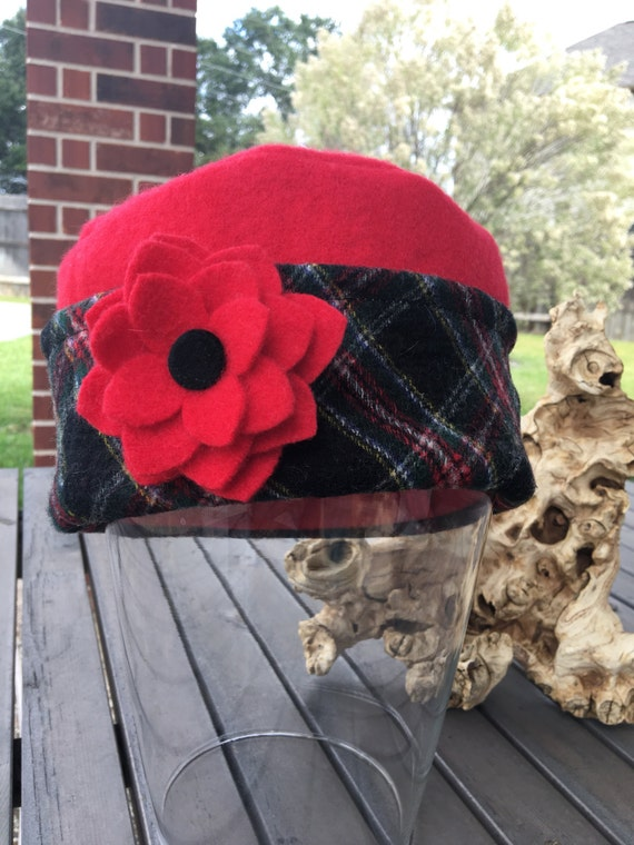 Warm Woman's Pillbox Hat from Upcycled Felted Wool