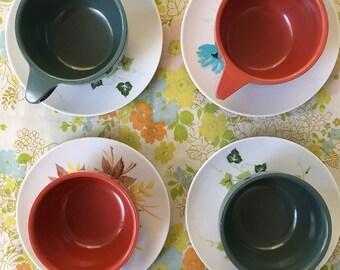 Melmac Lifetime Ware Line Watertown Cup & Saucers Set of 4 Super Cute