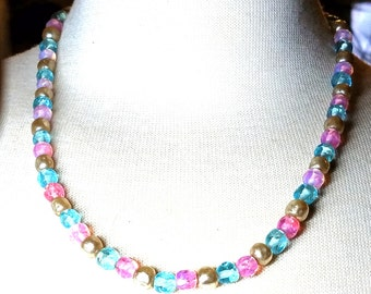 Vintage Necklace Pink Blue Beads and Faux Pearls