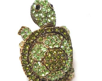Adorable Turtle Ring Green Rhinestones Stretch Ring Band
