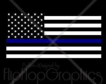 Thin Blue Line American Flag, Vehicle Window Sticker