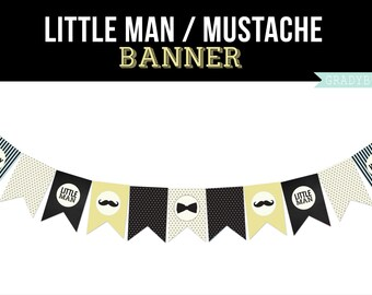Mustache Party Banner, Sports Printable, Boys Birthday, Little Mans Birthday Party, Printable Banner, Mustache, Instant Download