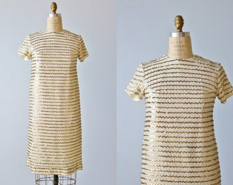Vintage 1960s Sequin T Shirt Dress / Gold and Silver Sequin Dress