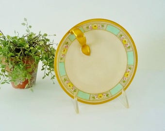 Vintage Bavaria Small Handled Plate, Finger Handle - Gilt Gold, Mint Green, Pink, Yellow Flowers - Candy Lemon Trinket Dish