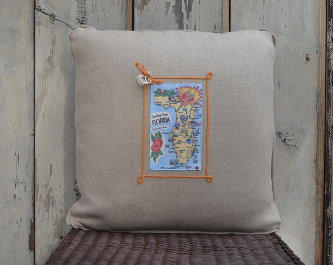 Florida Sun Postcard pillow (available in 3 styles)