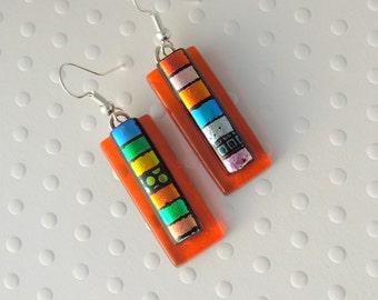 Rainbow Earrings - Hippie Earrings - Dichroic Fused Glass Earrings - Dichroic Earrings - Hippie Jewelry - Bohemian Earrings - Boho  X6758