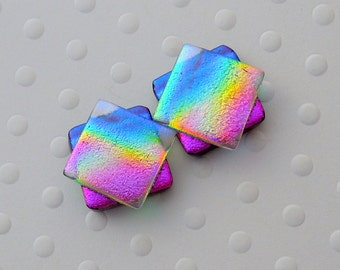 Rainbow Earrings, Dichroic Fused Glass Earrings, Hippie Earrings, Post Earrings, Stud Earrings, Dichroic Glass, Bohemian Earrings 1408