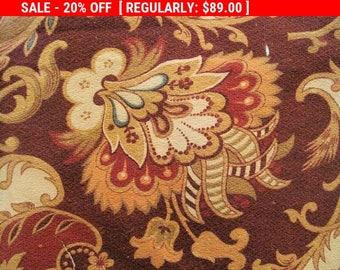 Antique Barkcloth Fabric French Jacobean
