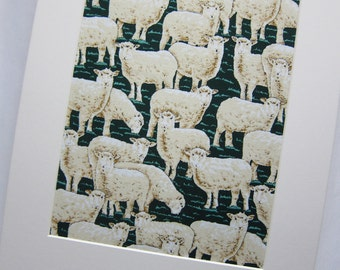 "RARE FABRIC ART Designs Mounted For Framing - New Zealand Sheep on Green - 8""x10"" Matted Image  - Final Size with Board 11""x14"""