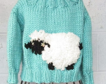 Little Lamb Boy or Girl Pullover and Hat  Knitted  Pattern Child Sizes Ages 3-8