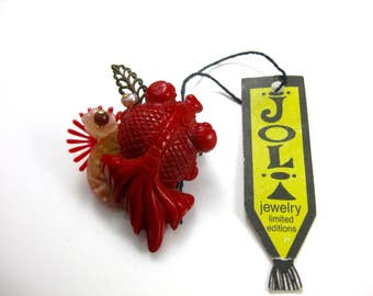 Vintage Joli Hand Crafted Limited Edition Red Fish Made with Material From the 1930s Through the 1950s