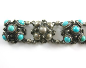 Antique Russian 800 Silver Turquoise Puffy Link Bracelet