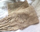 """Antique Crocheted Lace Runner with Long Fringe in Mercerized Cotton 96"""" x 7"""""""