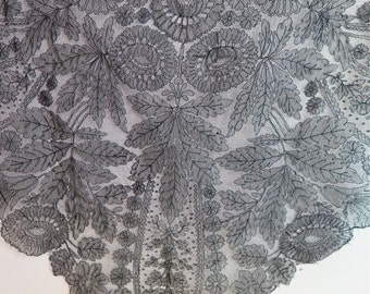 Antique French Chantilly Lace Shawl/Cape Border in Black /Dress / Garment Remnant