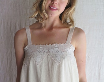 Long Cotton Nightgown in Ivory Flannel with Vintage Butterfly Lace Yoke MOP Buttons Size Medium OOAK