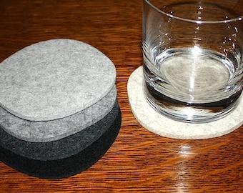 Cobblestones III Drink Coasters Merino Wool Felt Coaster Set Organic Shape Barware