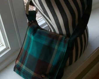 Chrissy's Messenger  Bag -  Aqua Plaid