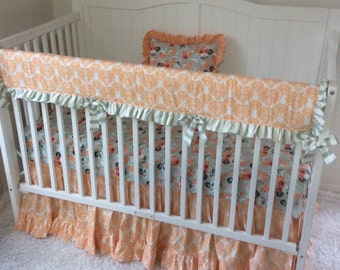 Baby Girl Crib Bedding Peach Coral Mint Sage