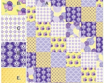 Baby Girl Crib Bedding Set Purple Lavender and Yellow Floral Made to Order