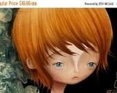 "BIRTHDAY SALE 5x7 Art Print - ""Flynn"" - Small Sized Print - Sad Eyed Little Boy and Flowers - Pretty things - Artwork by Jessica Grundy"