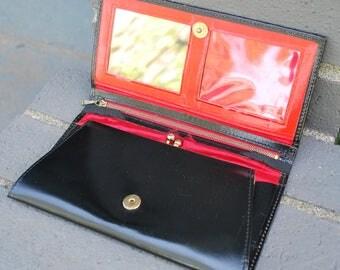 Vintage Women's Patent Leather Wallet Mid Century Mod
