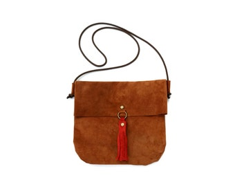 "Fold Over Brown Suede Bag. Large Suede Clutch with Tassel ""Venesaron"""